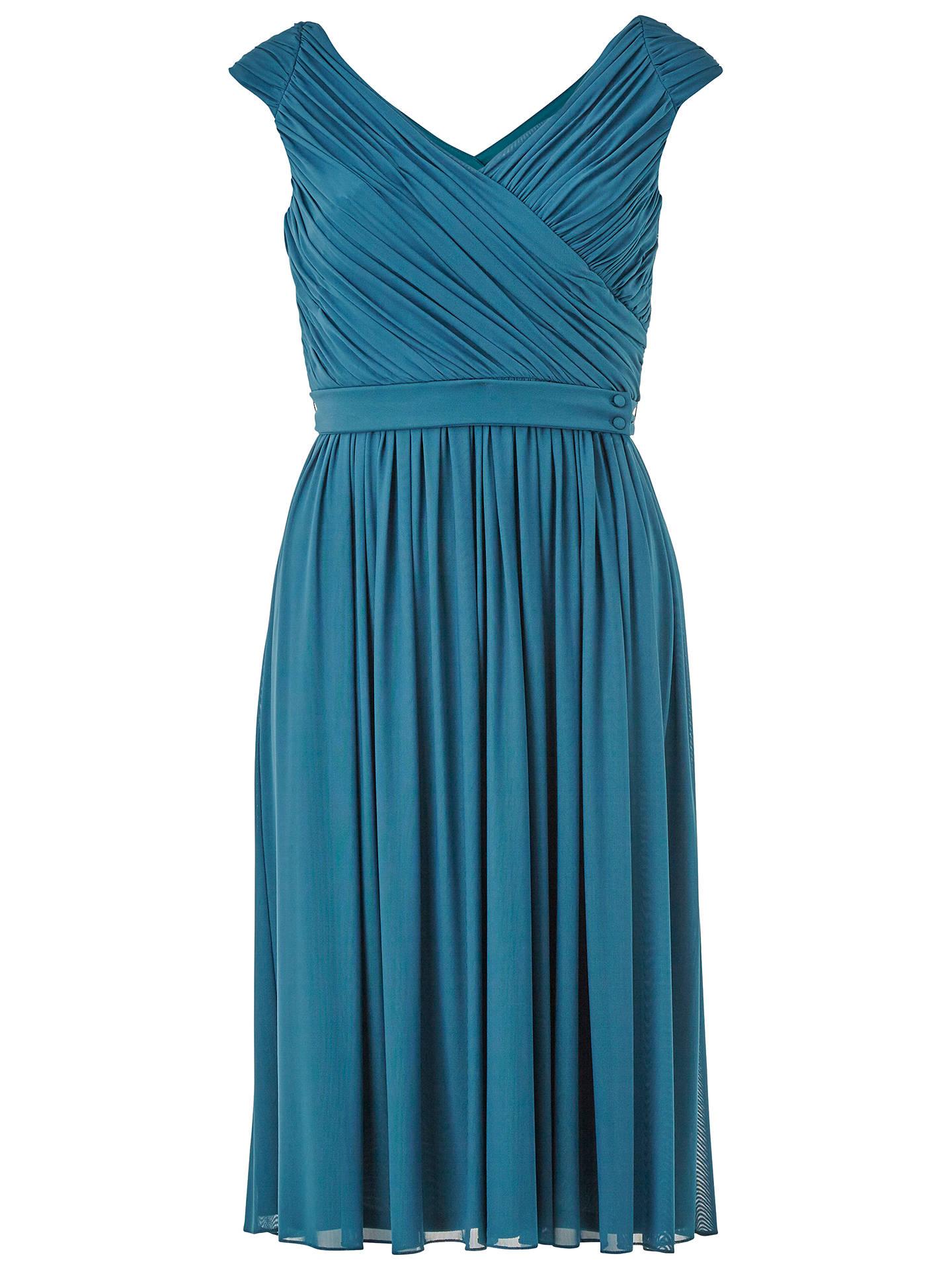 V-Neck Pleated Bodice Dress
