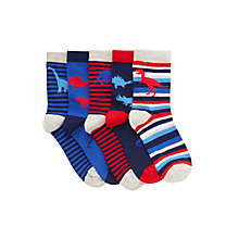 Buy John Lewis Dinosaur Socks, Pack of 5, Blue/Red Online at johnlewis.com