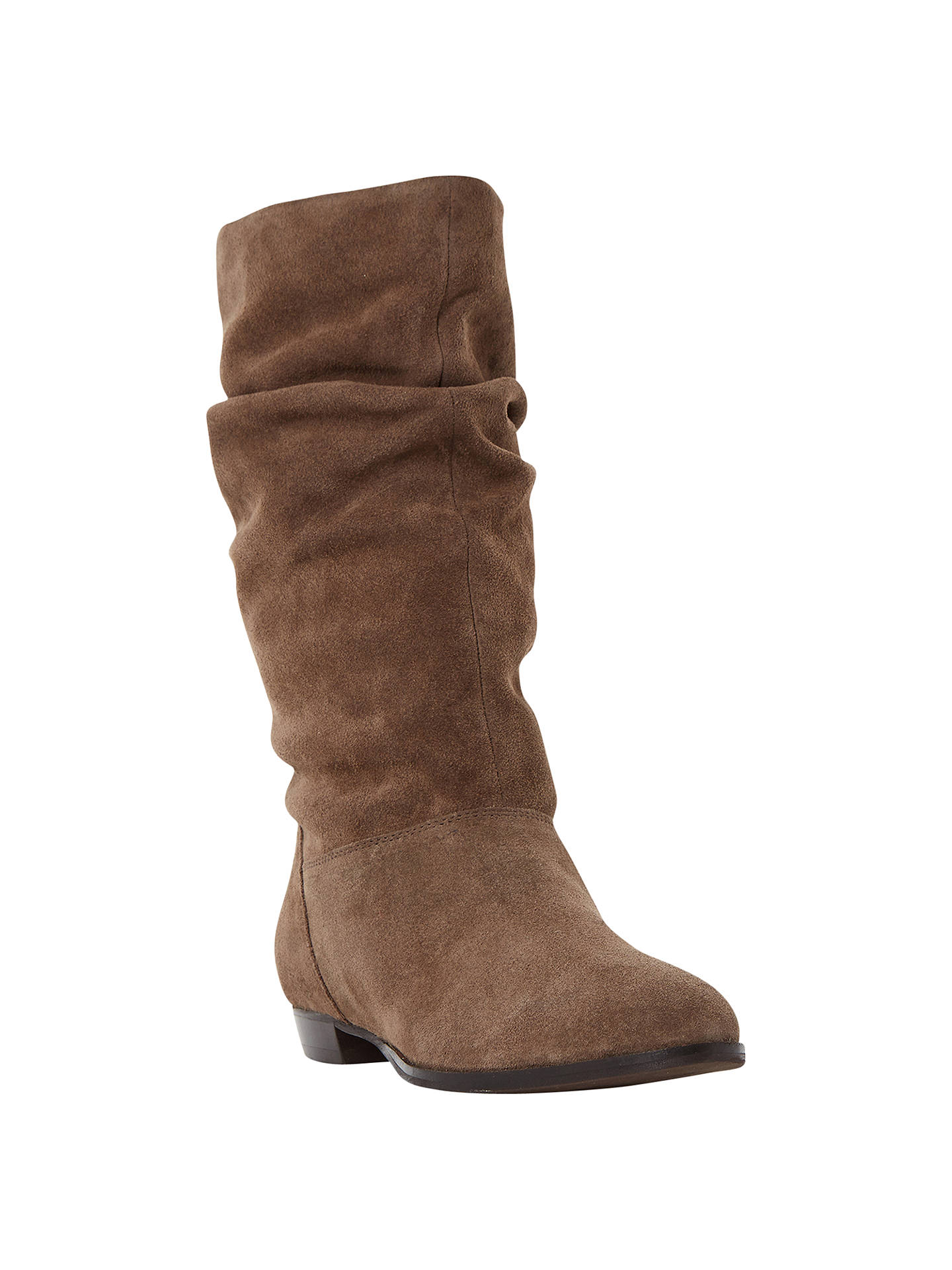 Dune Relissa Suede Slouch Calf Boot Taupe At John Lewis Partners Flat 2cm Buydune 3 Online