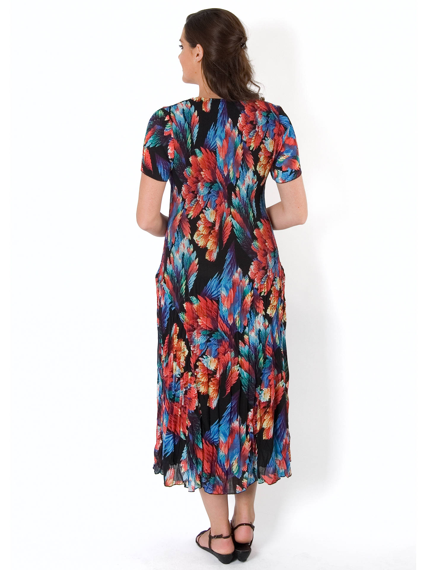 BuyChesca Abstract Leaf Pleat Dress, Black/Red, 24-26 Online at johnlewis.com