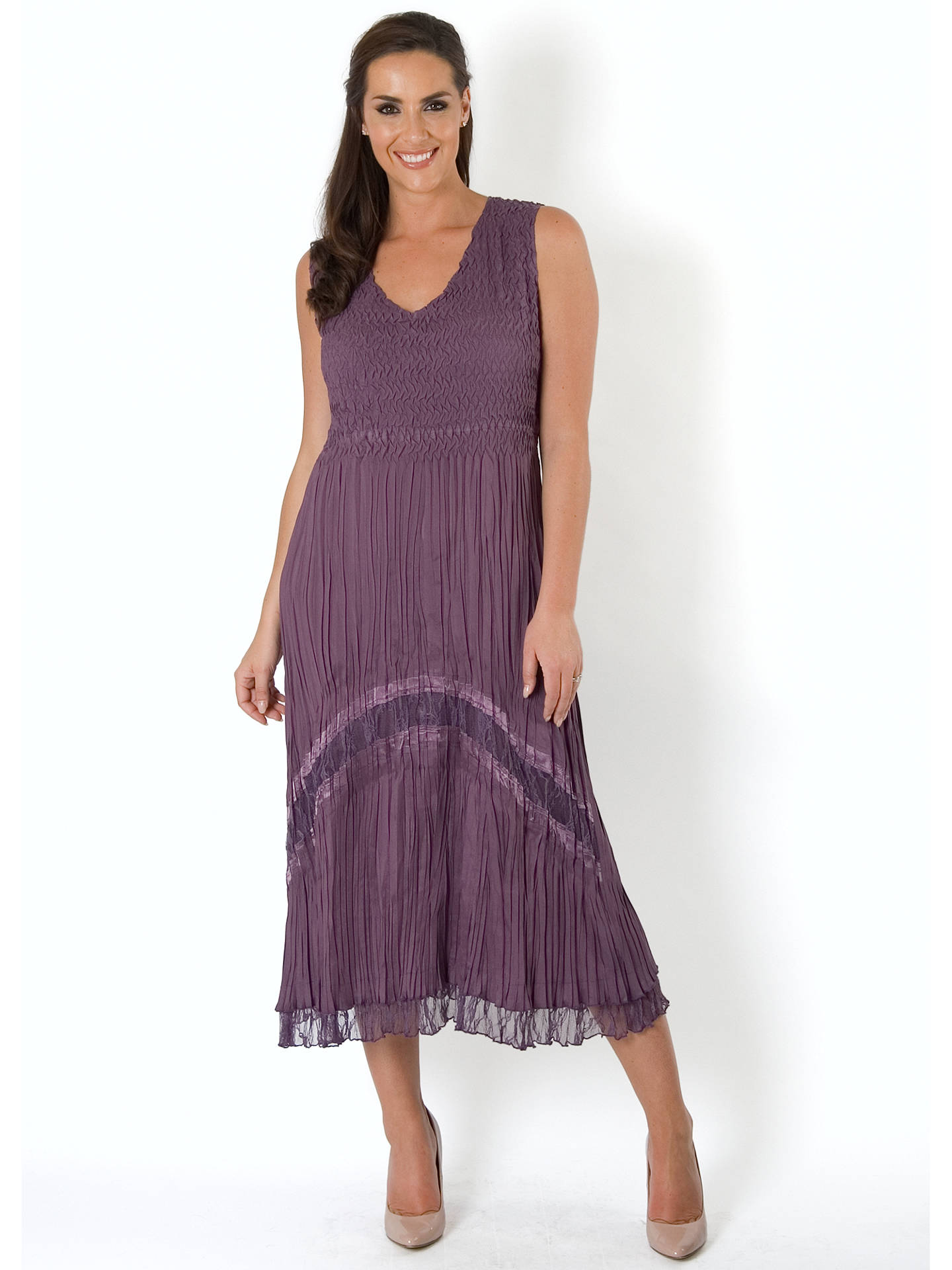BuyChesca Crush Pleat Lace Dress, Haze, 20-22 Online at johnlewis.com