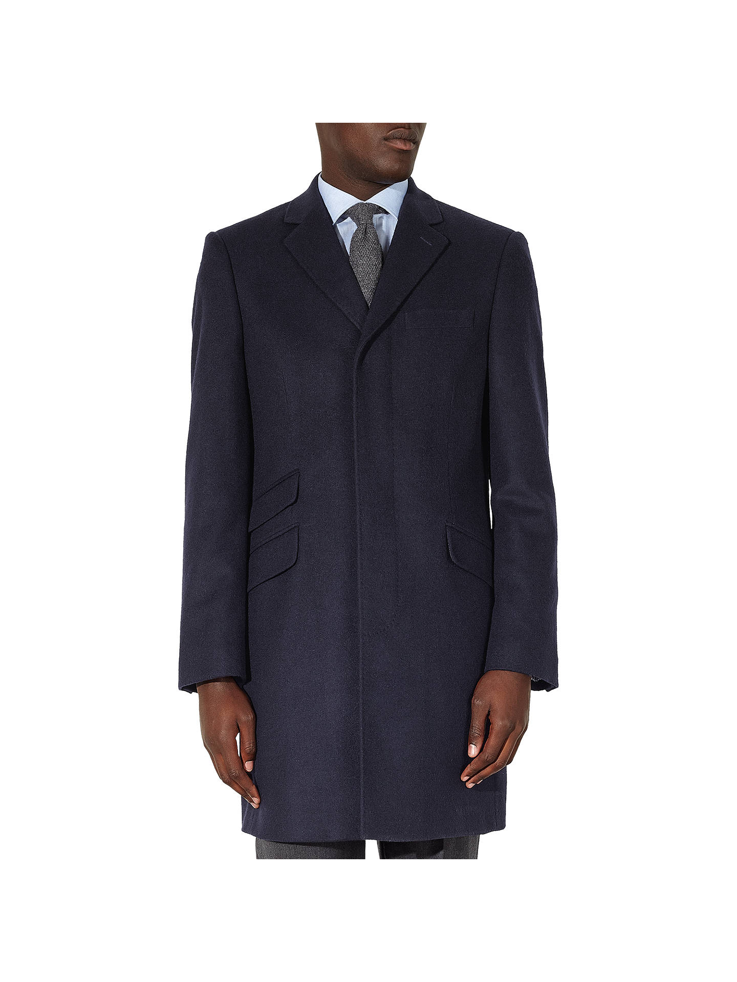 d69625688a John Lewis & Partners Pure Cashmere Epsom Overcoat, Navy