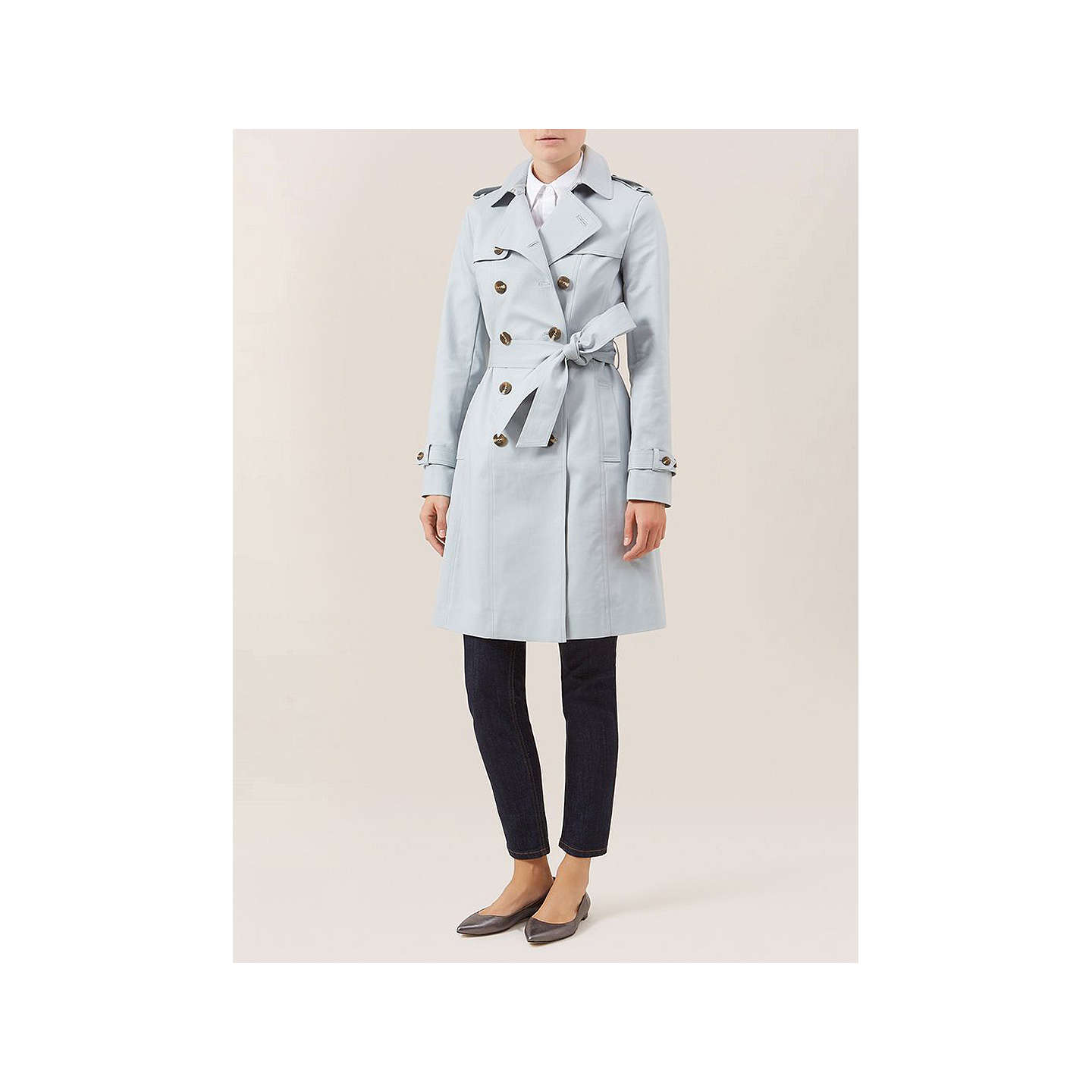BuyHobbs London Saskia Trench Coat, Frost Blue, 6 Online at johnlewis.com