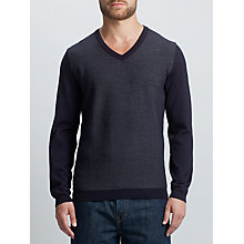 Buy BOSS Green C-Chip Virgin Wool V-Neck Jumper, Dark Blue Online at johnlewis.com