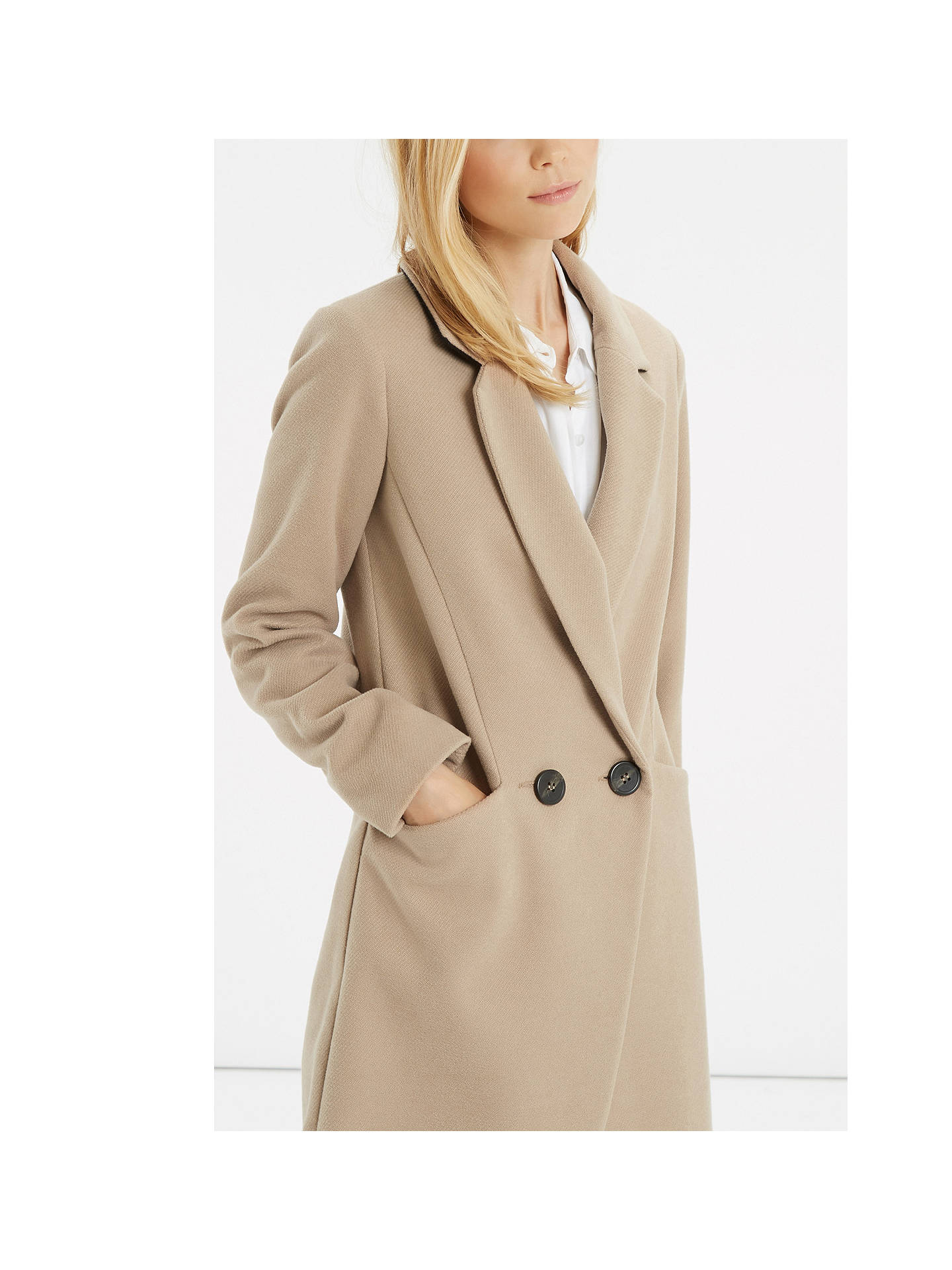 Oasis Double Breasted Trench Coat, Camel at John Lewis