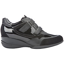 Buy Geox Persefone Low Top Trainers, Black Leather Online at johnlewis.com