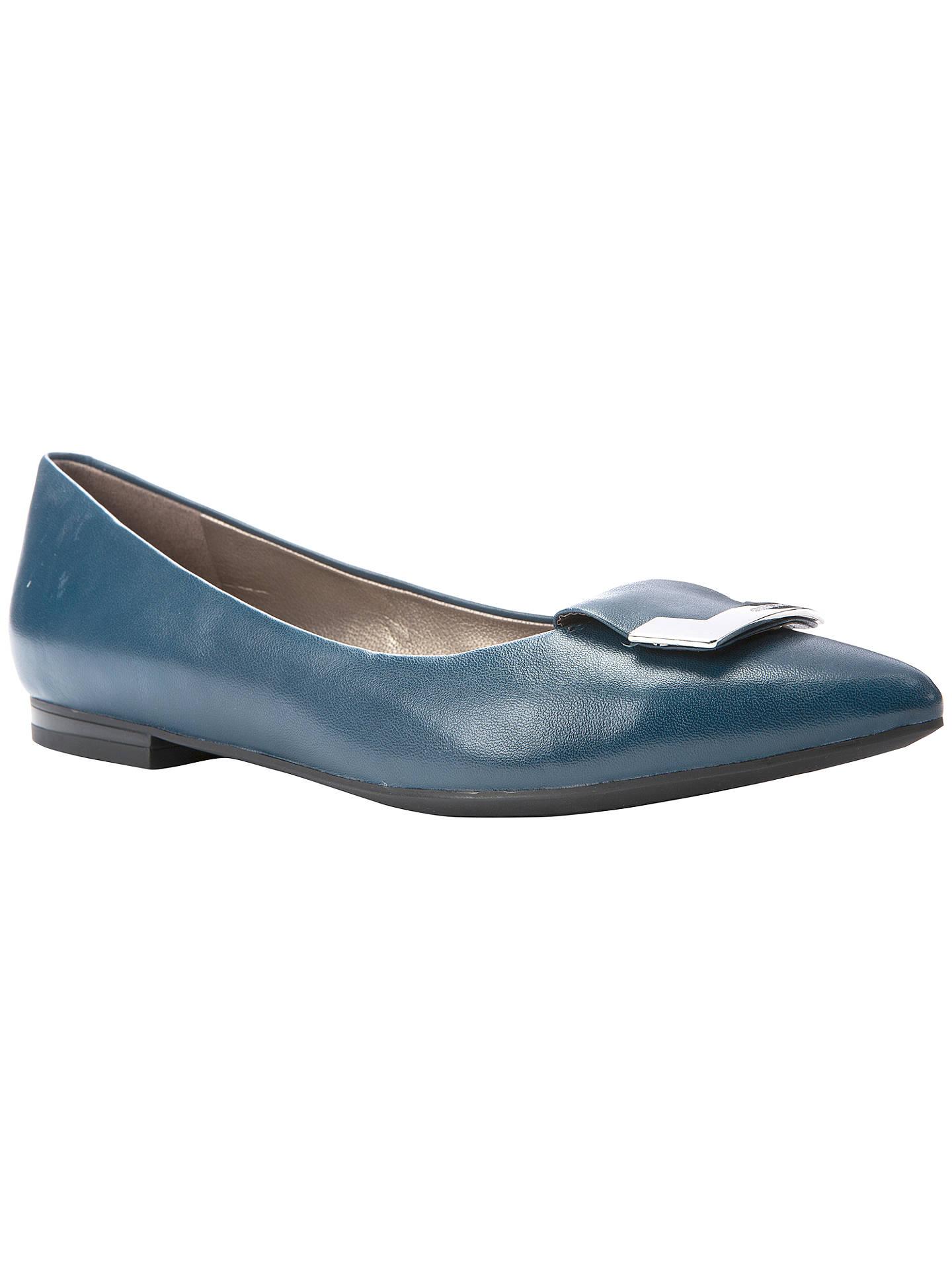 bd9d5c194c7b7 Buy Geox Rhosyn Flat Low Heeled Toe Pointed Pumps, Ocean Blue Leather, 5  Online ...