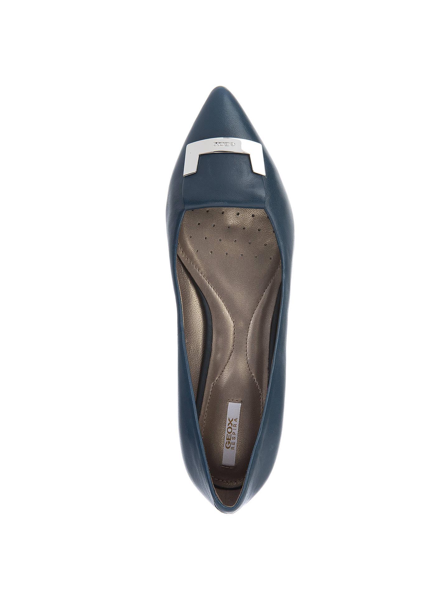 ab40fb9bdb1ad ... Buy Geox Rhosyn Flat Low Heeled Toe Pointed Pumps, Ocean Blue Leather,  5 Online ...