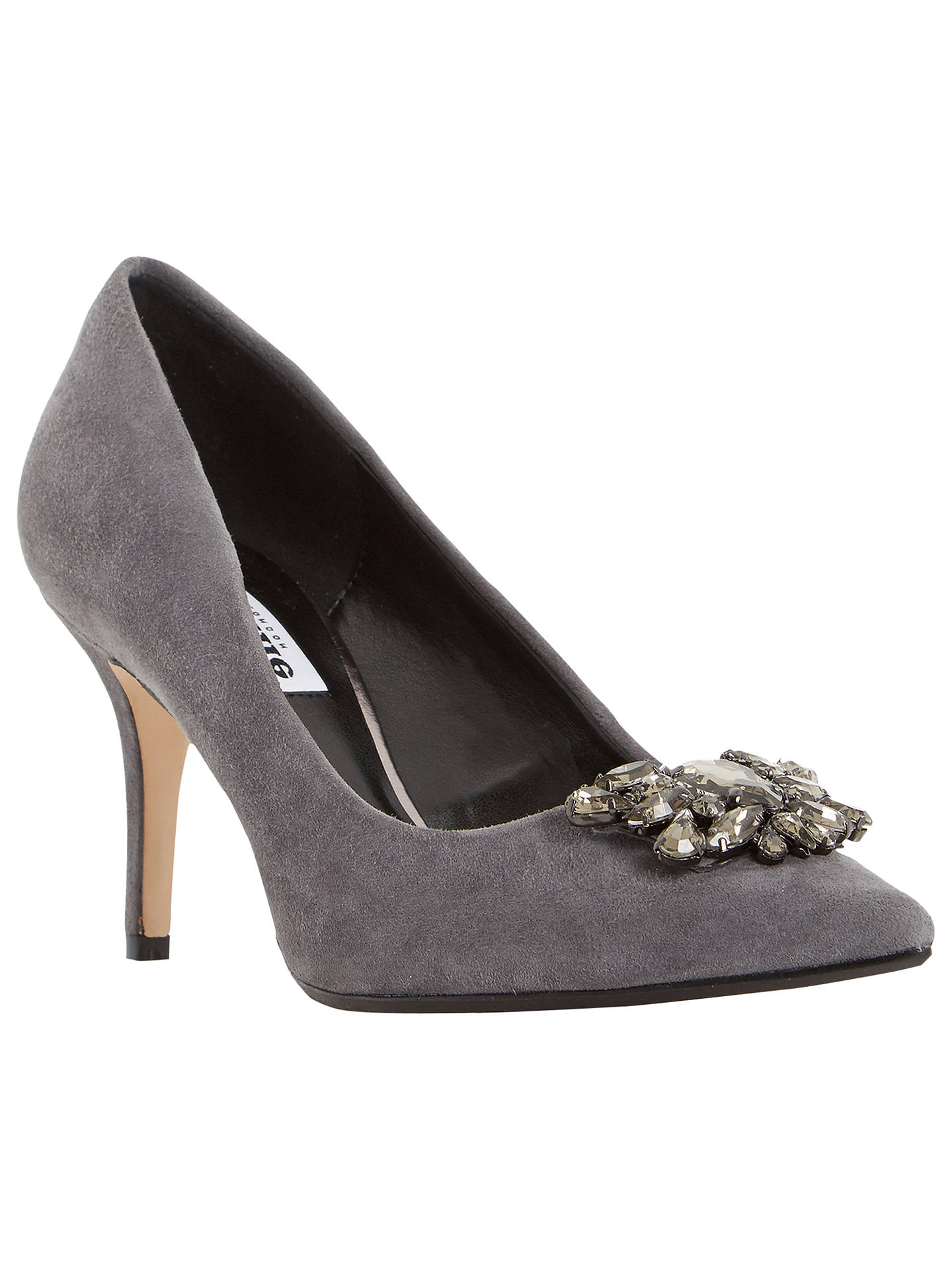 0af36a918afe4 Buy Dune Belles Embellished Court Shoes, Grey Suede, 3 Online at  johnlewis.com ...