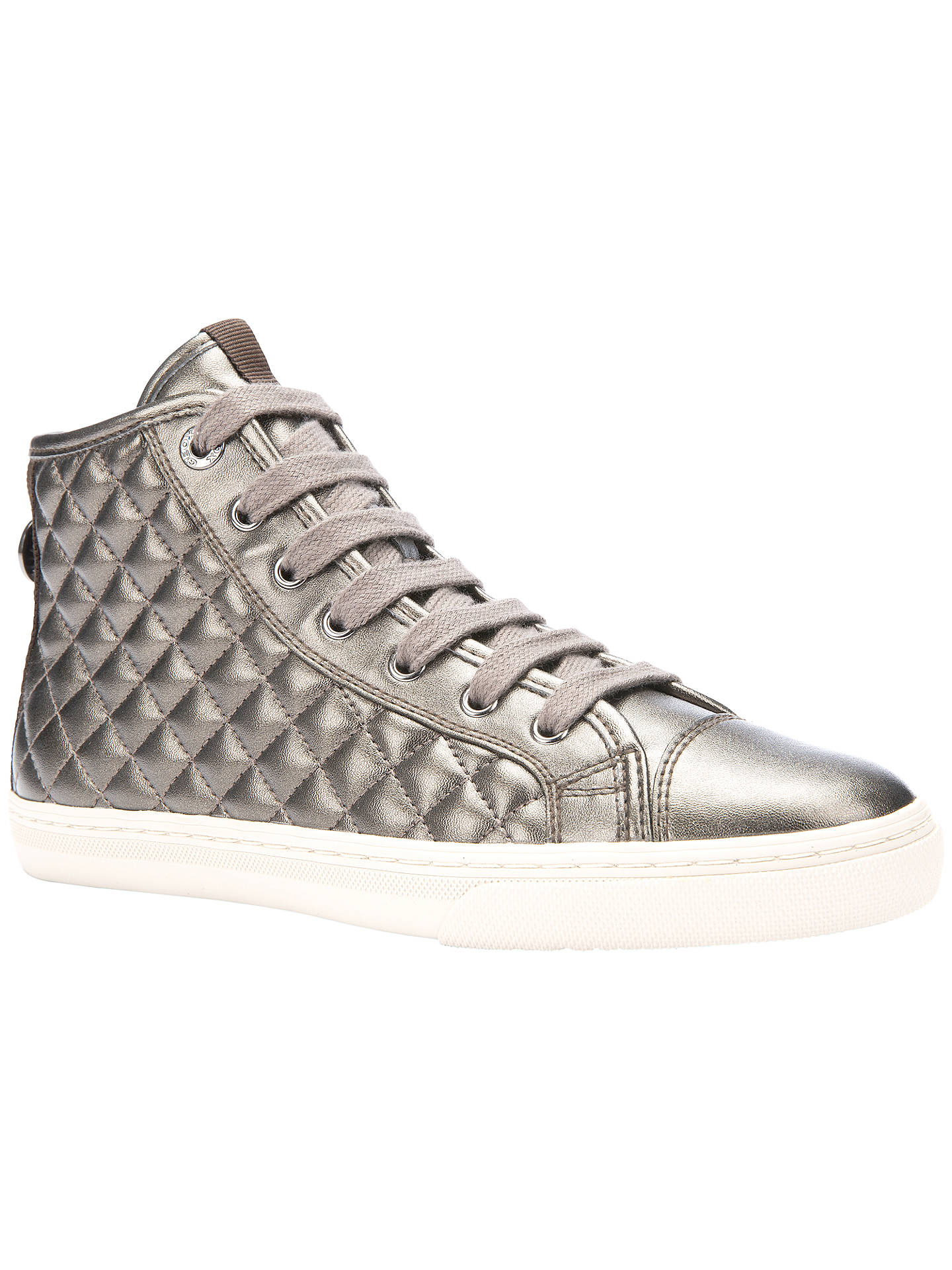 ce8fe305f4 Buy Geox New Club Quilted High Top Trainers, Dove, 5 Online at johnlewis.
