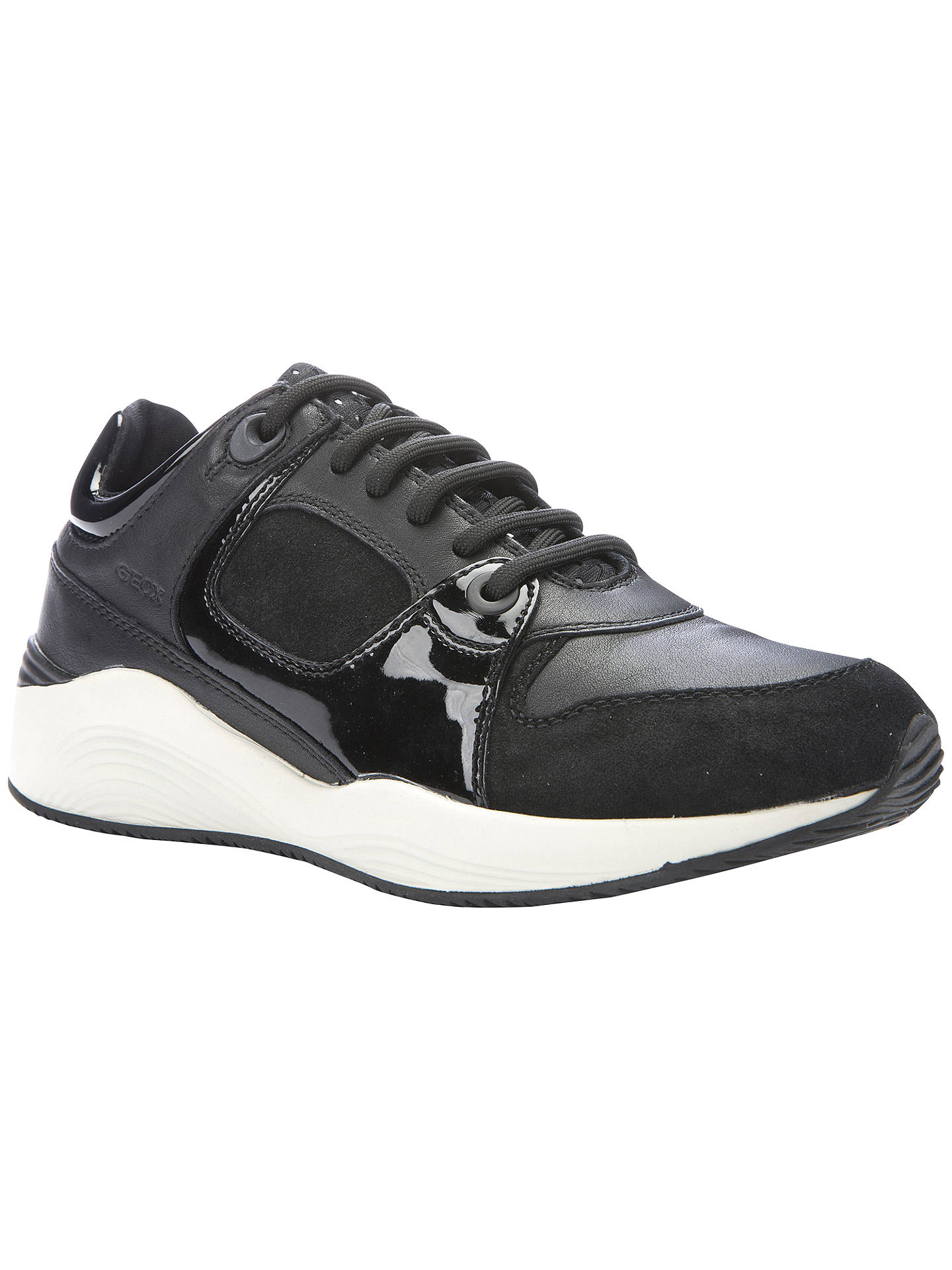 89117cc16dfa7 Buy Geox Omaya Flat Lace Up Trainers, Black/White, 4 Online at johnlewis ...