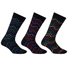 Buy John Lewis Zigzag Socks, Pack of 3, Black/Multi Online at johnlewis.com