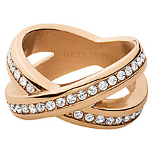 Buy Dyrberg/Kern Crystal X-Design Ring, Rose Gold Online at johnlewis.com