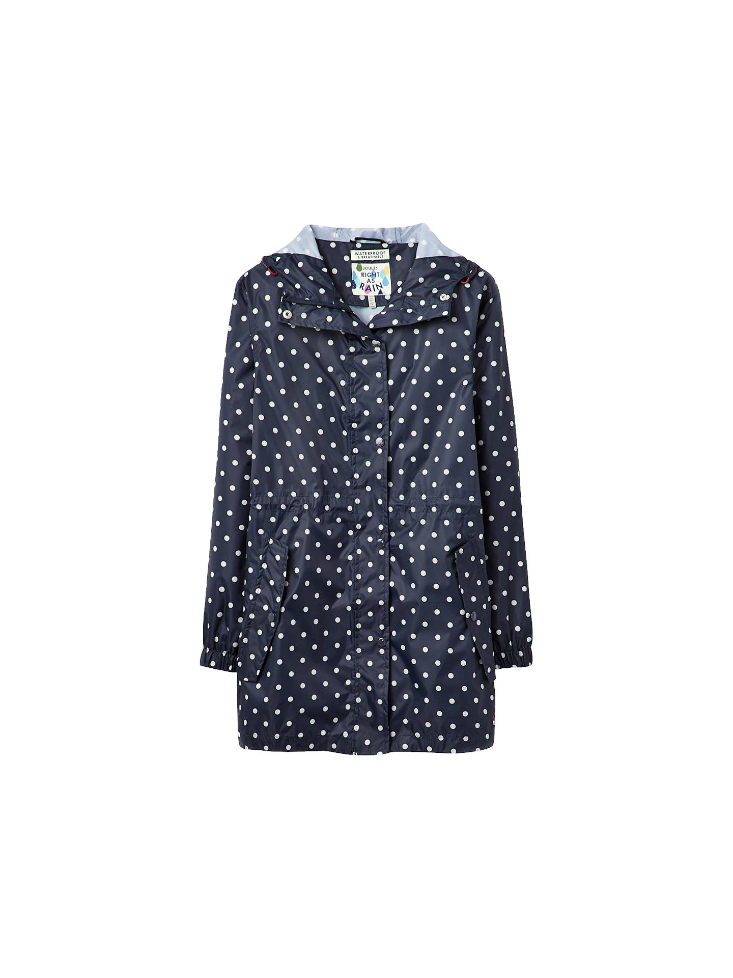 42203f63697 Joules Right as Rain Golightly Pack Away Waterproof Parka, Navy Spot ...