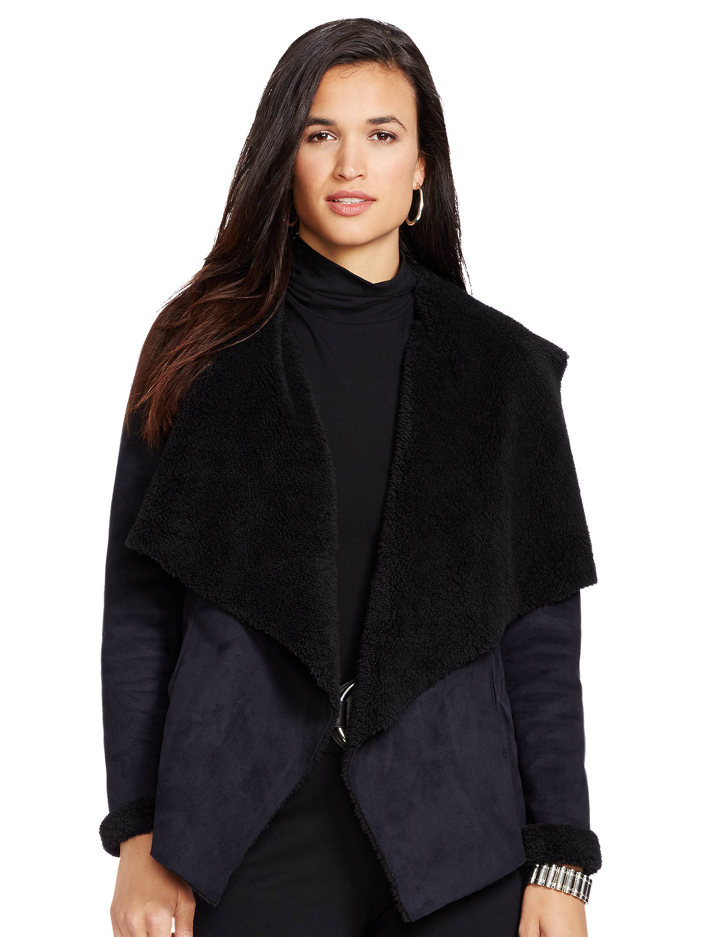 Buy Lauren Ralph Lauren Ourea Faux Suede Waterfall Jacket, Black, XS Online at johnlewis.com