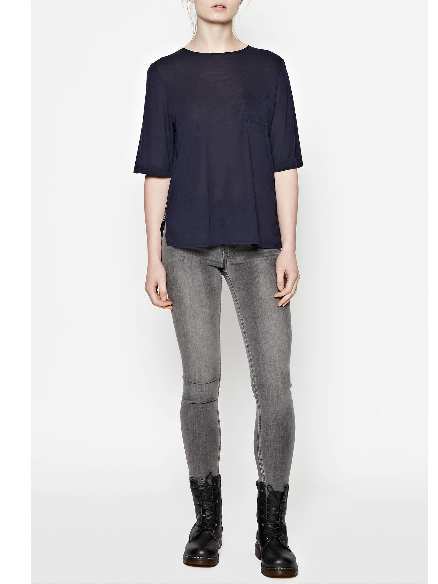 BuyFrench Connection Polly Plains Top, Black, XS Online at johnlewis.com