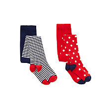 Buy John Lewis Girls' Stripe Spot Tights, Pack of 2, Red/Navy Online at johnlewis.com
