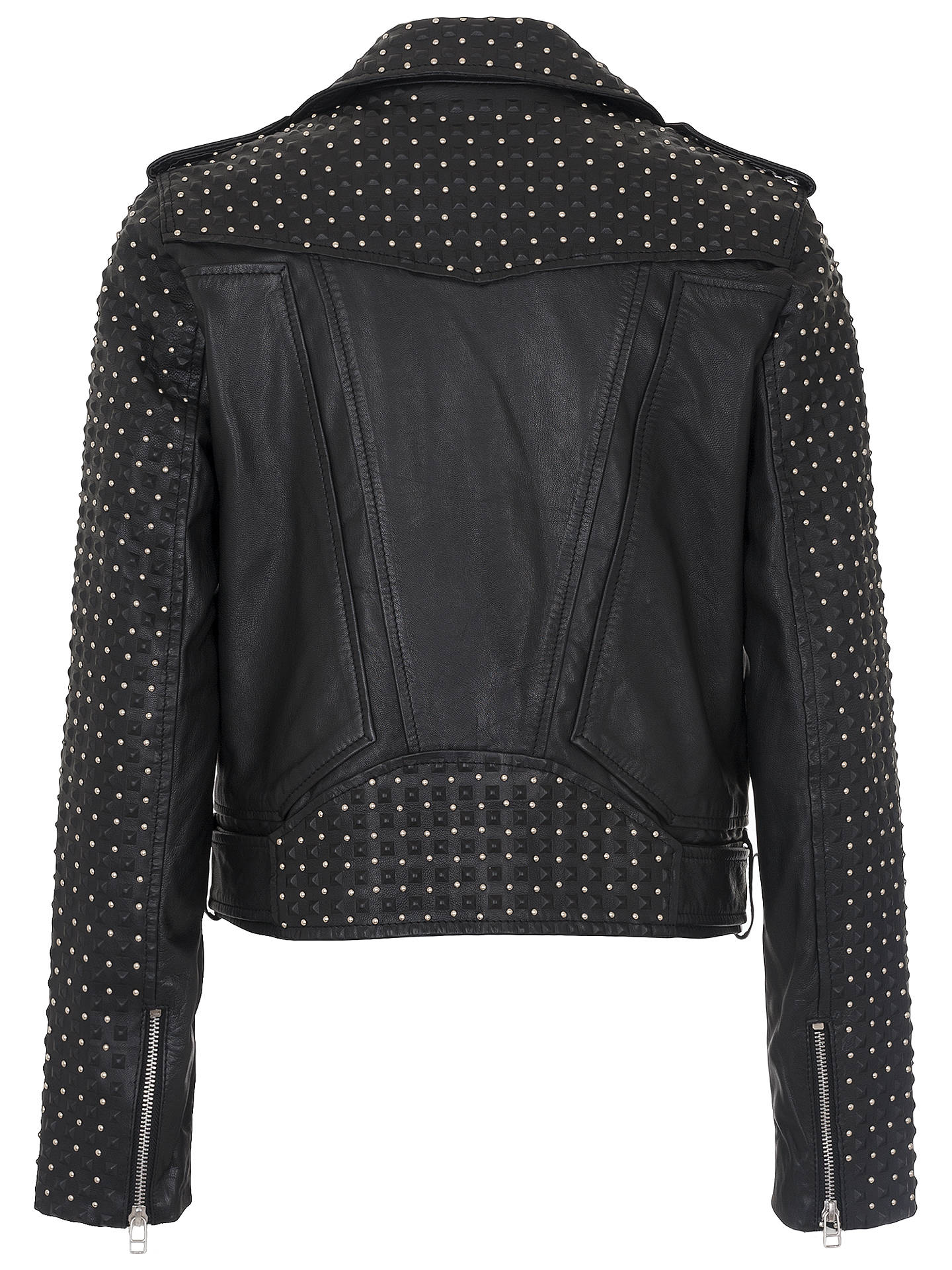 BuyFrench Connection Chaos Leather Biker Jacket, Black, 6 Online at johnlewis.com