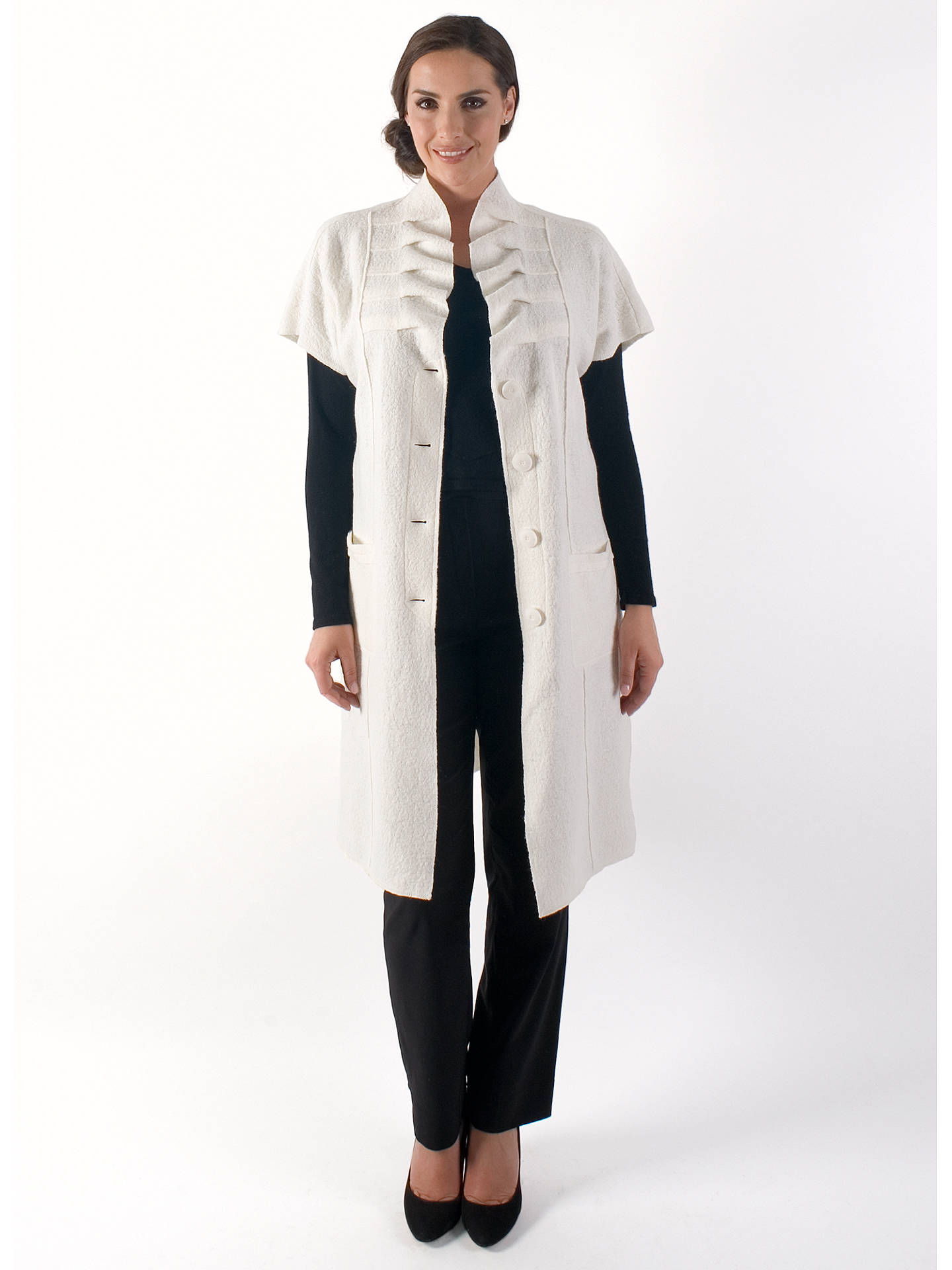 Buy Chesca Boiled Wool Sleeveless Coat, Cream, 12-14 Online at johnlewis.com