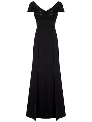 Buy Adrianna Papell Cap Sleeve Satin Back Crepe Gown, Black, 8 Online at johnlewis.com