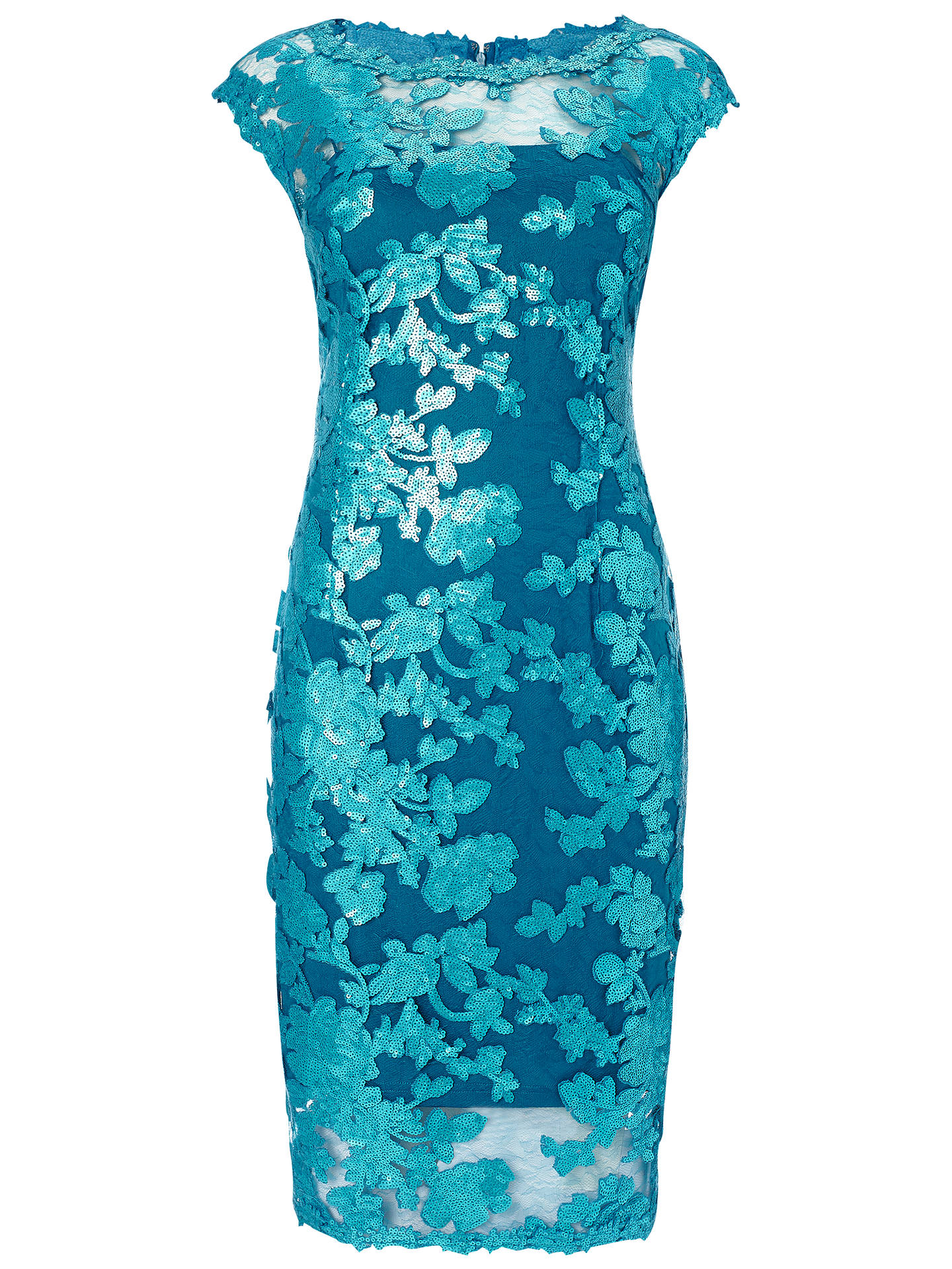 4527d2f4bf Buy Adrianna Papell Illusion Sequin Lace Cocktail Dress, Turkish Blue, 8  Online at johnlewis ...