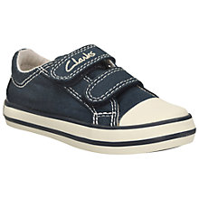 Buy Clarks Children's Halcy Sky Canvas Trainers, Navy Online at johnlewis.com
