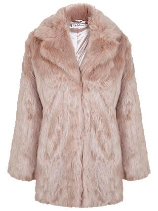 Miss Selfridge Faux Fur Coat Pink At, Pink Faux Fur Coat Miss Selfridge