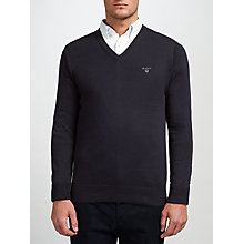 Buy Gant Lightweight Cotton V-Neck Jumper, Navy Online at johnlewis.com