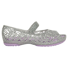 Buy Crocs Children's Isabella Glitter Flats, Silver Online at johnlewis.com