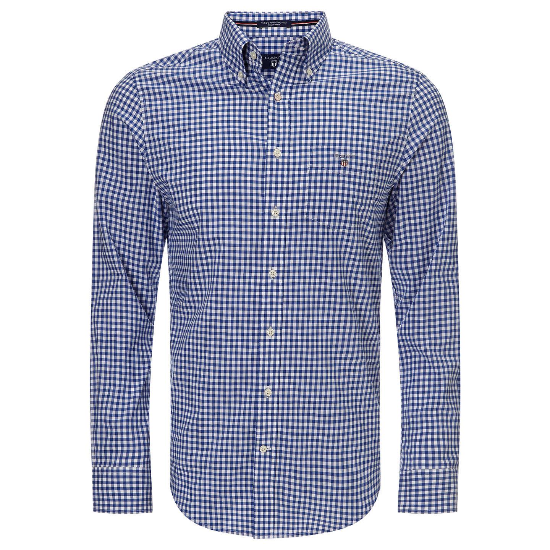 BuyGANT Regular Fit Poplin Gingham Shirt, Yale Blue, S Online at  johnlewis.com ...