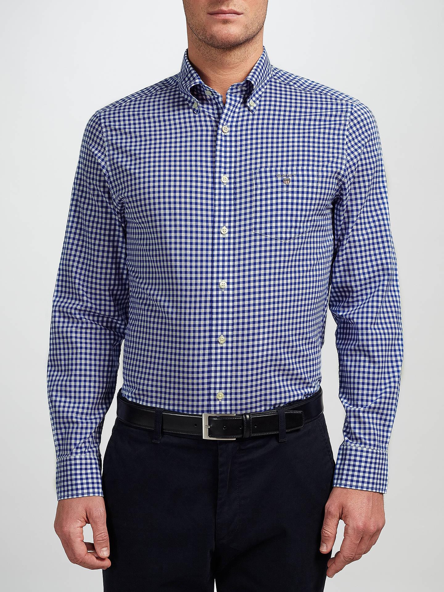 5ec871b171 Buy GANT Regular Fit Poplin Gingham Shirt, Yale Blue, S Online at johnlewis.