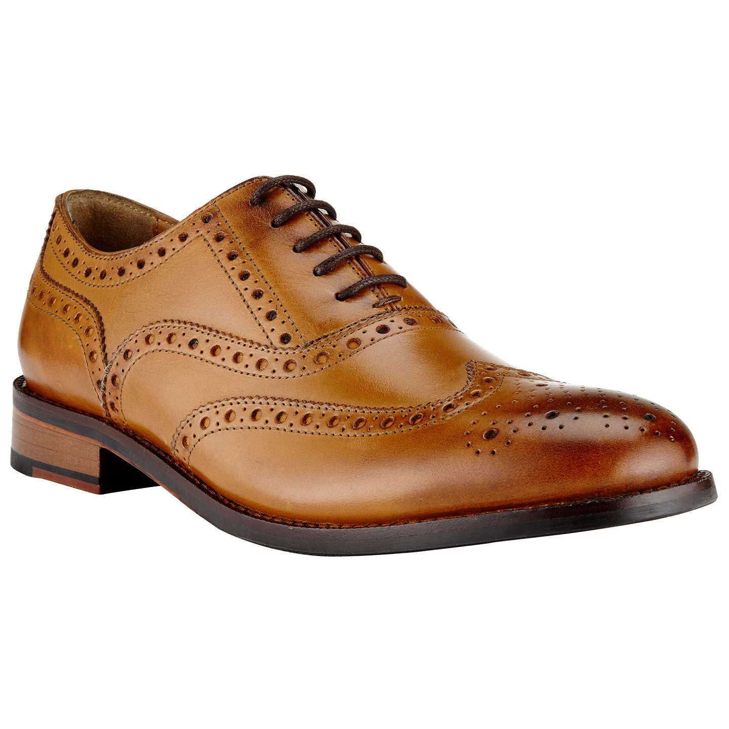 John Lewis Bentley Leather Lace-Up Brogues, Cognac At John