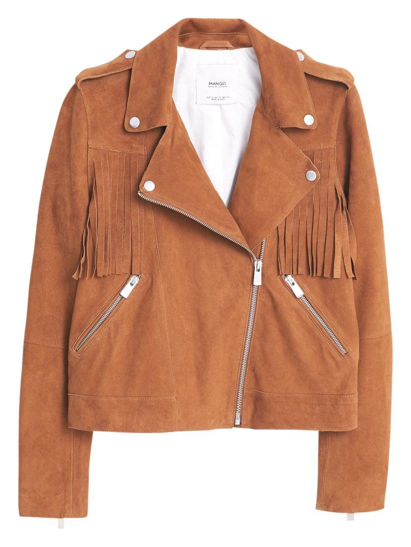 Mango Texas Leather Jacket Brown At John Lewis Partners