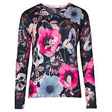 Buy Ted Baker Hatie Poppy Print Sweater, Navy Online at johnlewis.com