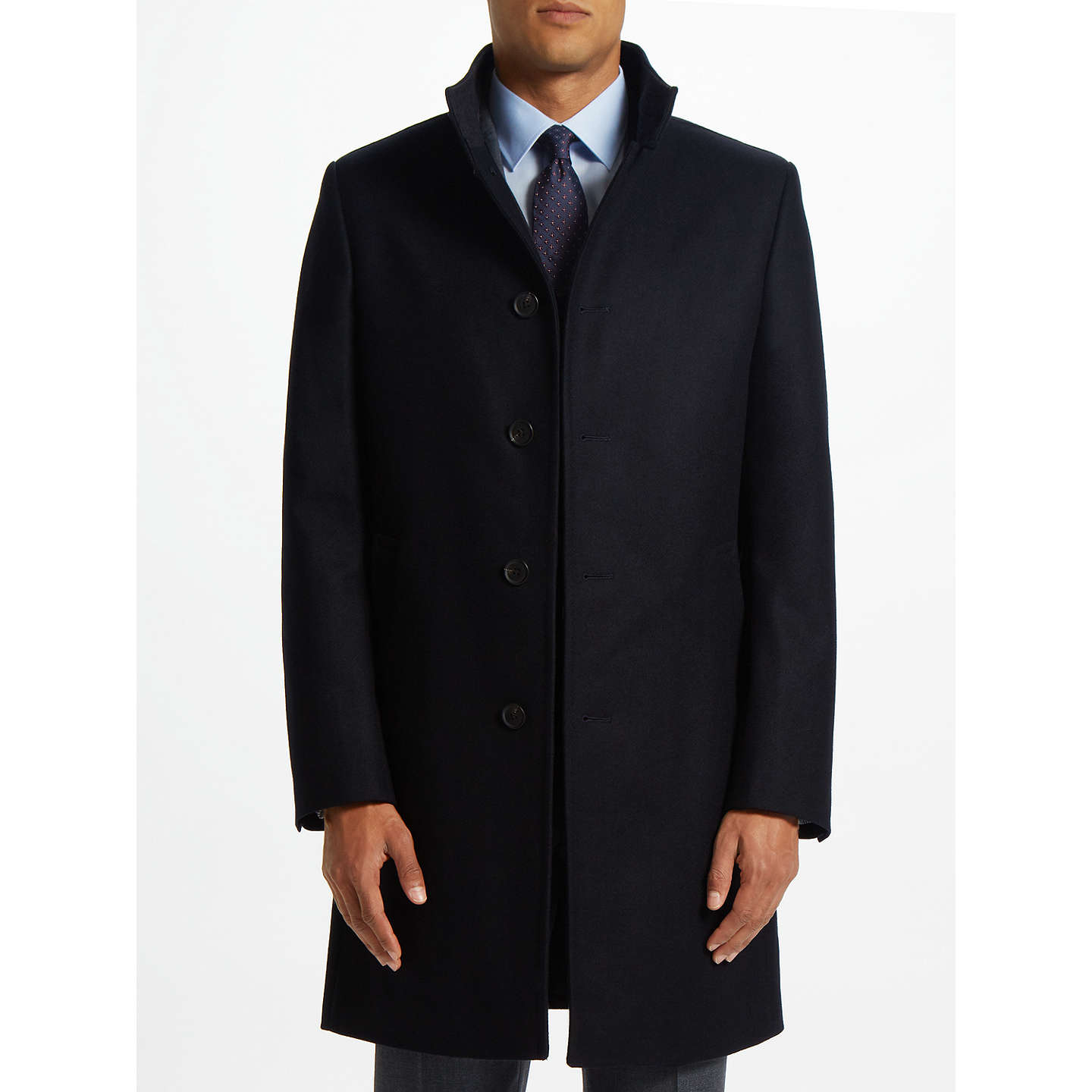 BuyJohn Lewis Italian Funnel Neck Overcoat, Navy, 46R Online at johnlewis.com