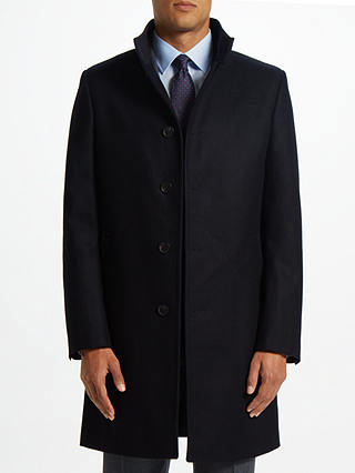 Buy John Lewis & Partners Italian Funnel Neck Overcoat, Navy, 40R Online at johnlewis.com