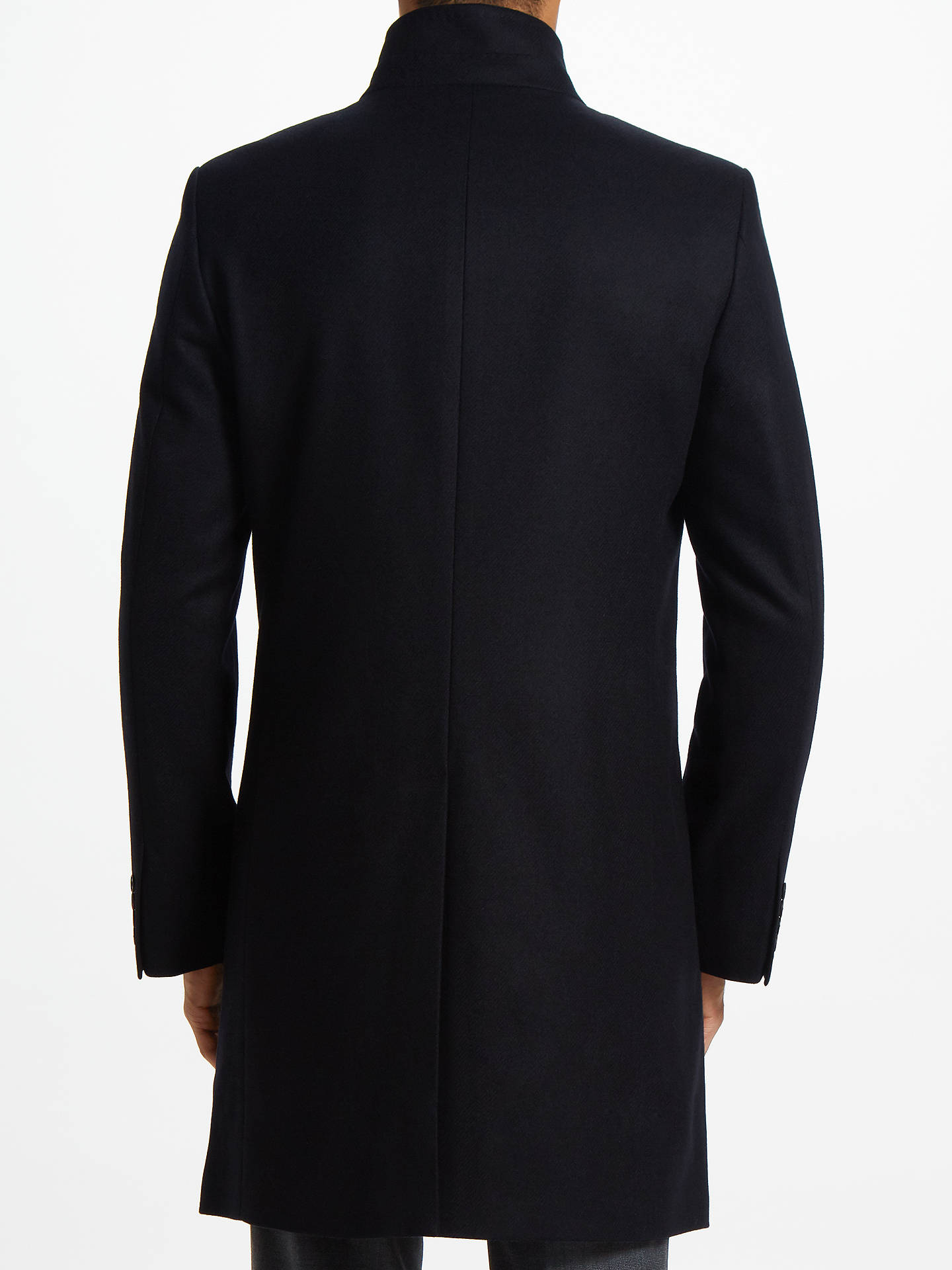 Buy John Lewis & Partners Italian Funnel Neck Overcoat, Navy, 36R Online at johnlewis.com