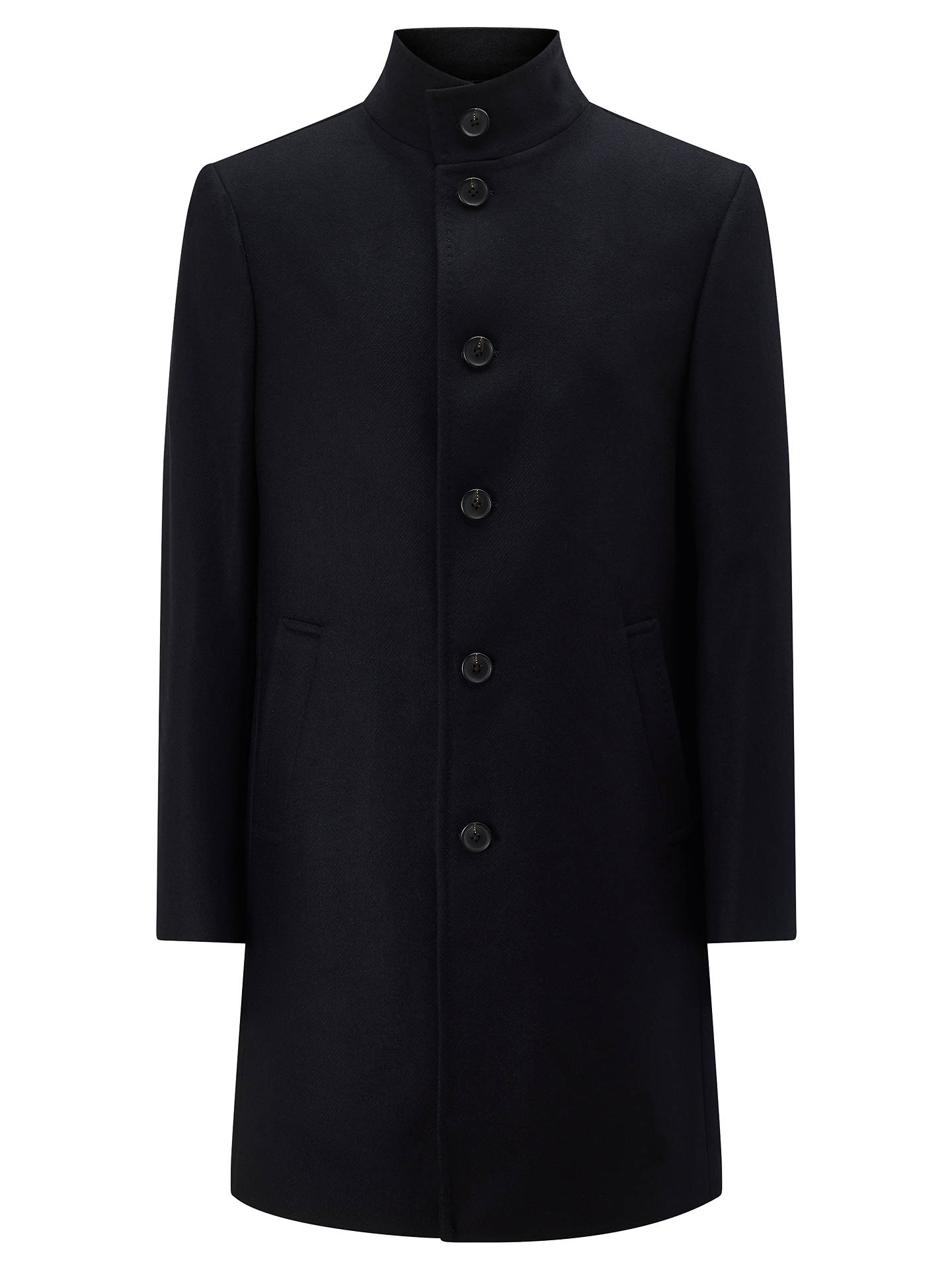 BuyJohn Lewis & Partners Italian Funnel Neck Overcoat, Navy, 36R Online at johnlewis.com
