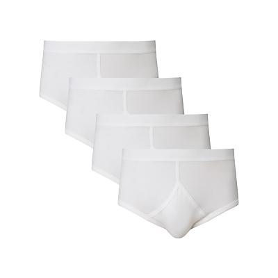 John Lewis Organic Cotton Briefs, Pack of 4, White