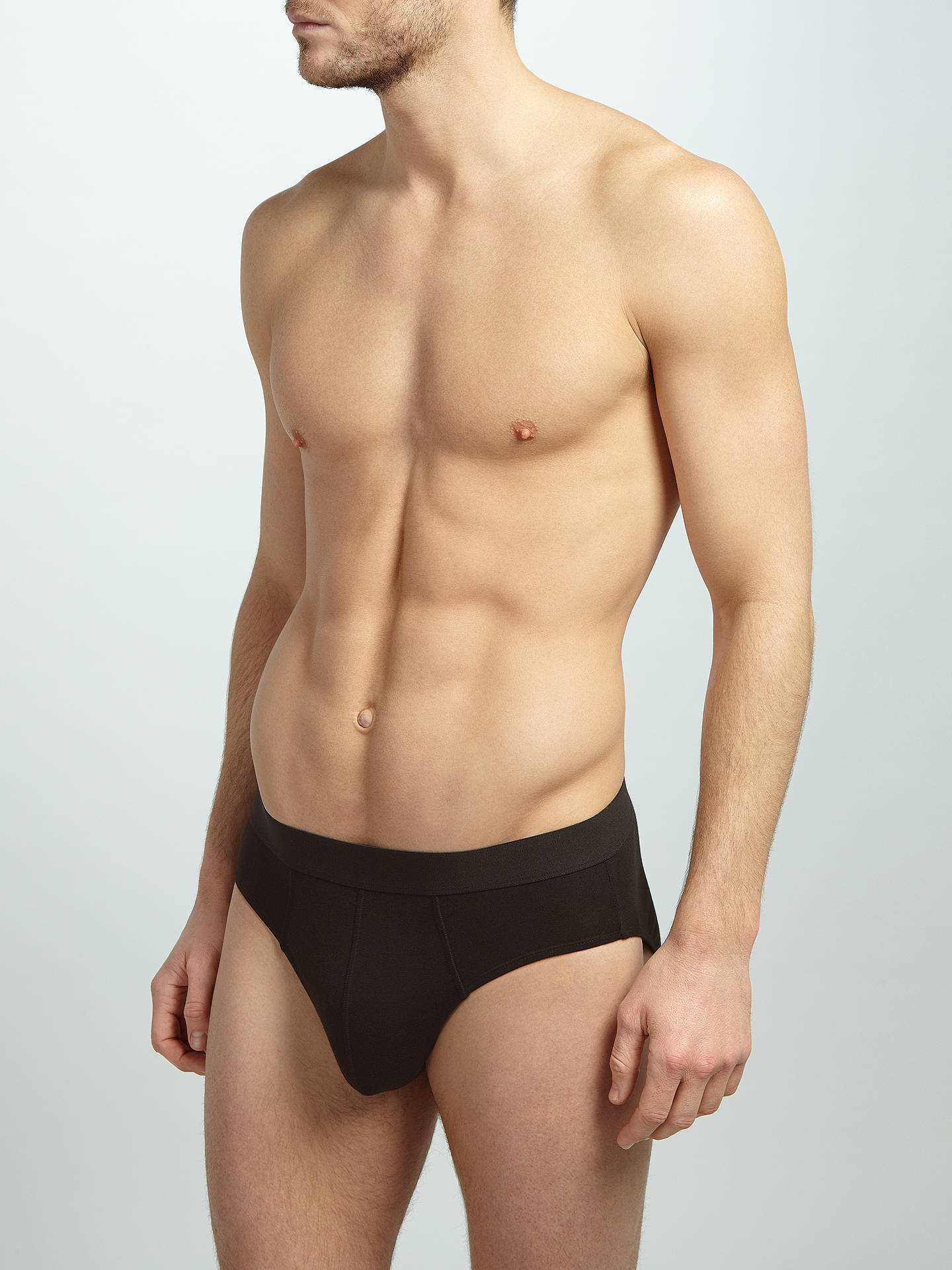 BuyJohn Lewis & Partners Organic Cotton Briefs, Pack of 4, Black, S Online at johnlewis.com