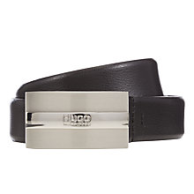 Buy HUGO Baxter Leather Belt, Black Online at johnlewis.com