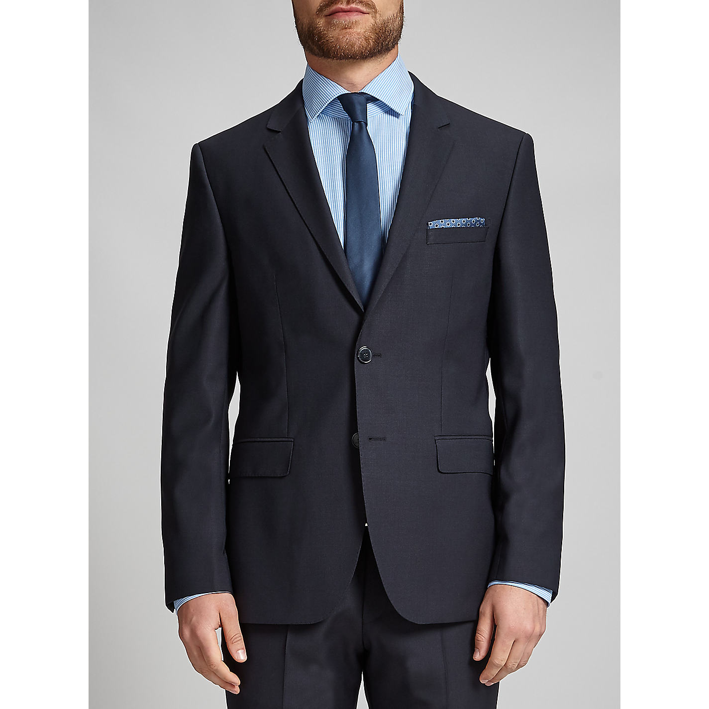Buy HUGO James Textured Wool Regular Fit Suit Jacket, Dark Blue ...
