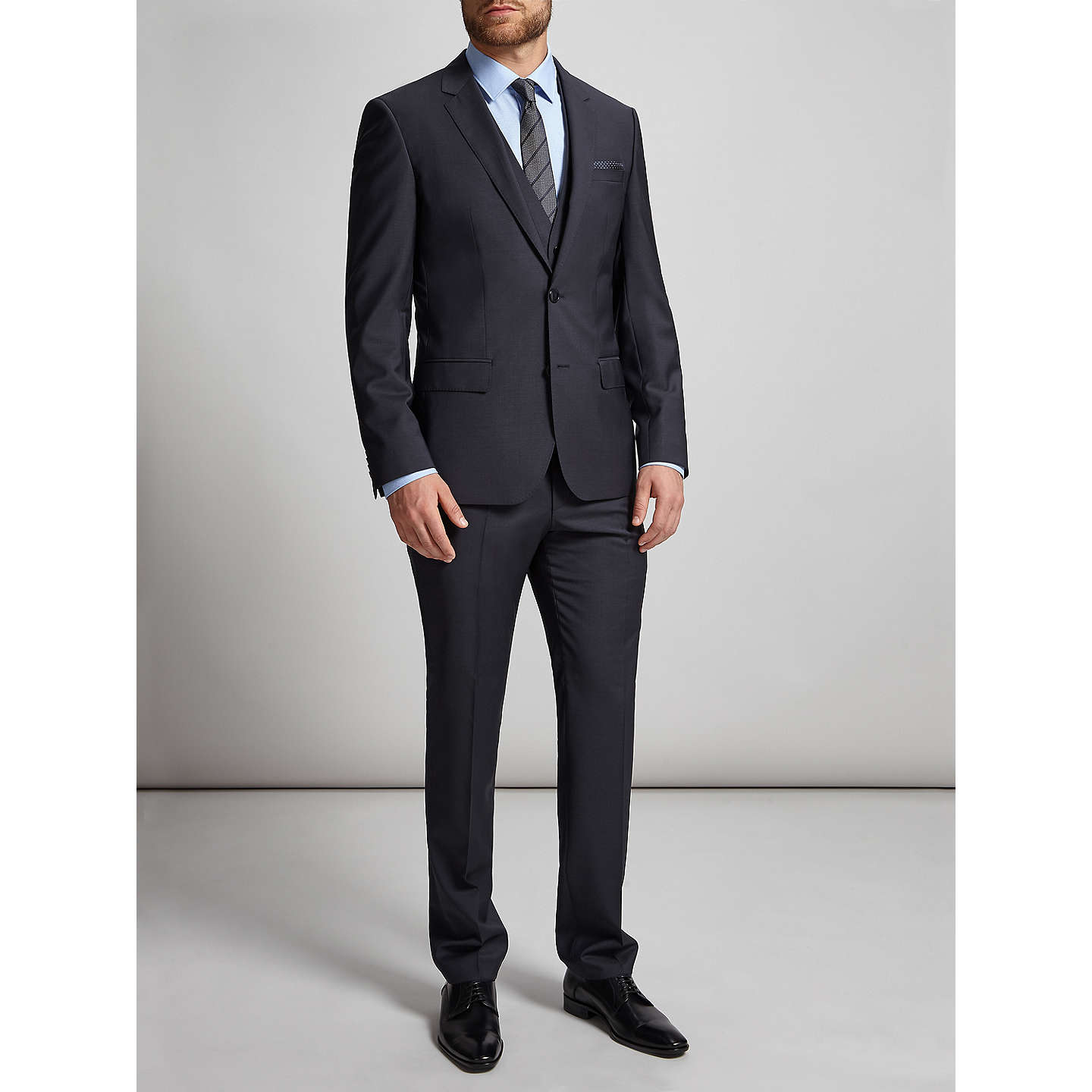 BuyHUGO by Hugo Boss Huge/Genius Virgin Wool Slim Fit Suit Trousers, Dark Blue, 30R Online at johnlewis.com