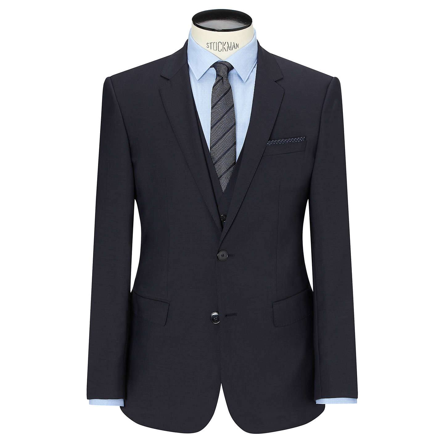 BuyHUGO by Hugo Boss Huge/Genius Virgin Wool Slim Fit Suit Jacket, Dark Blue, 38R Online at johnlewis.com