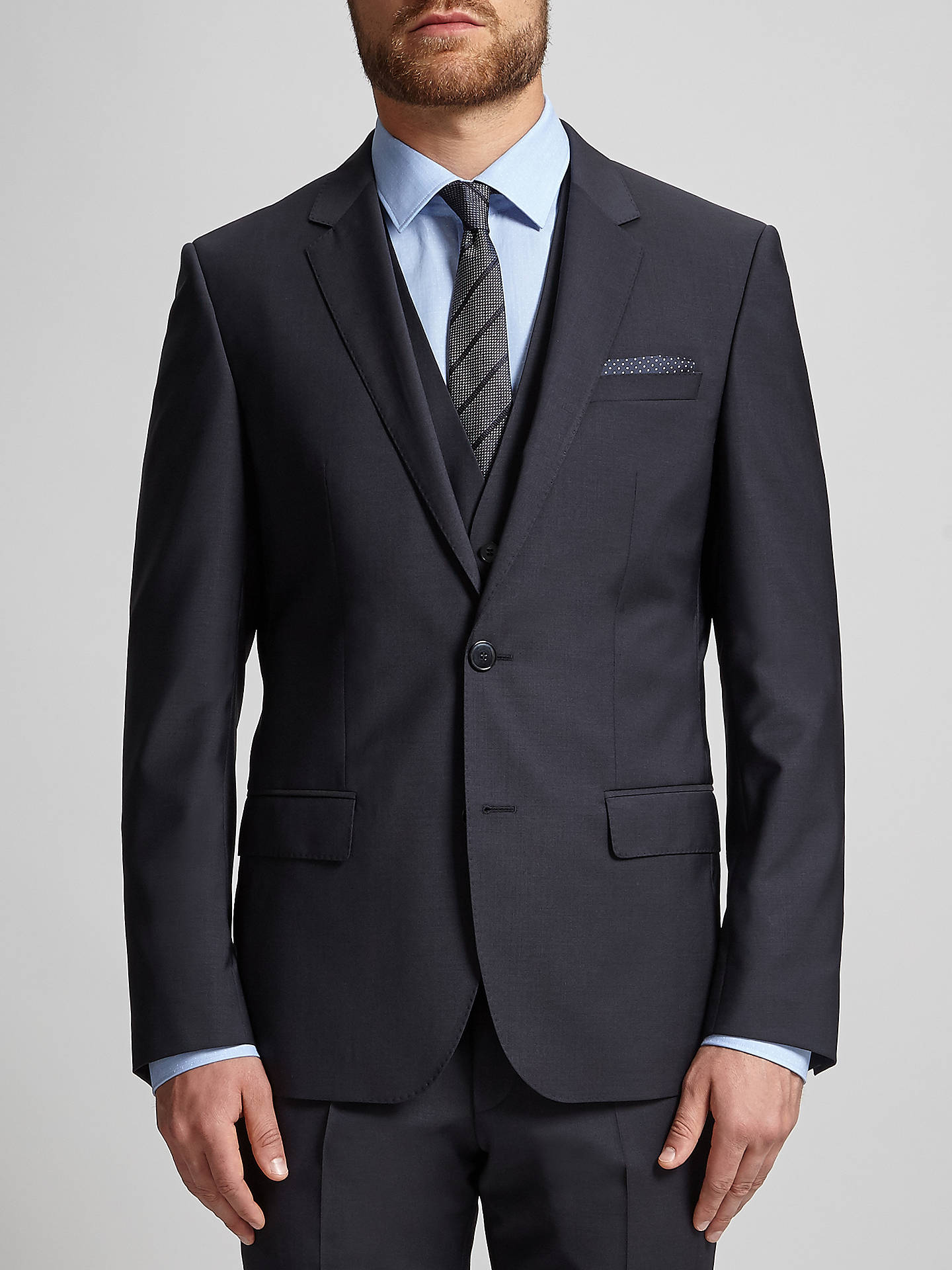 BuyHUGO by Hugo Boss Huge/Genius Virgin Wool Slim Fit Suit Jacket, Dark Blue, 44R Online at johnlewis.com