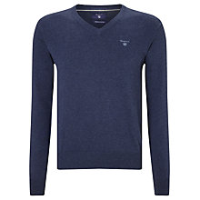 Buy Gant Lightweight Cotton V-Neck Jumper, Denim Blue Online at johnlewis.com