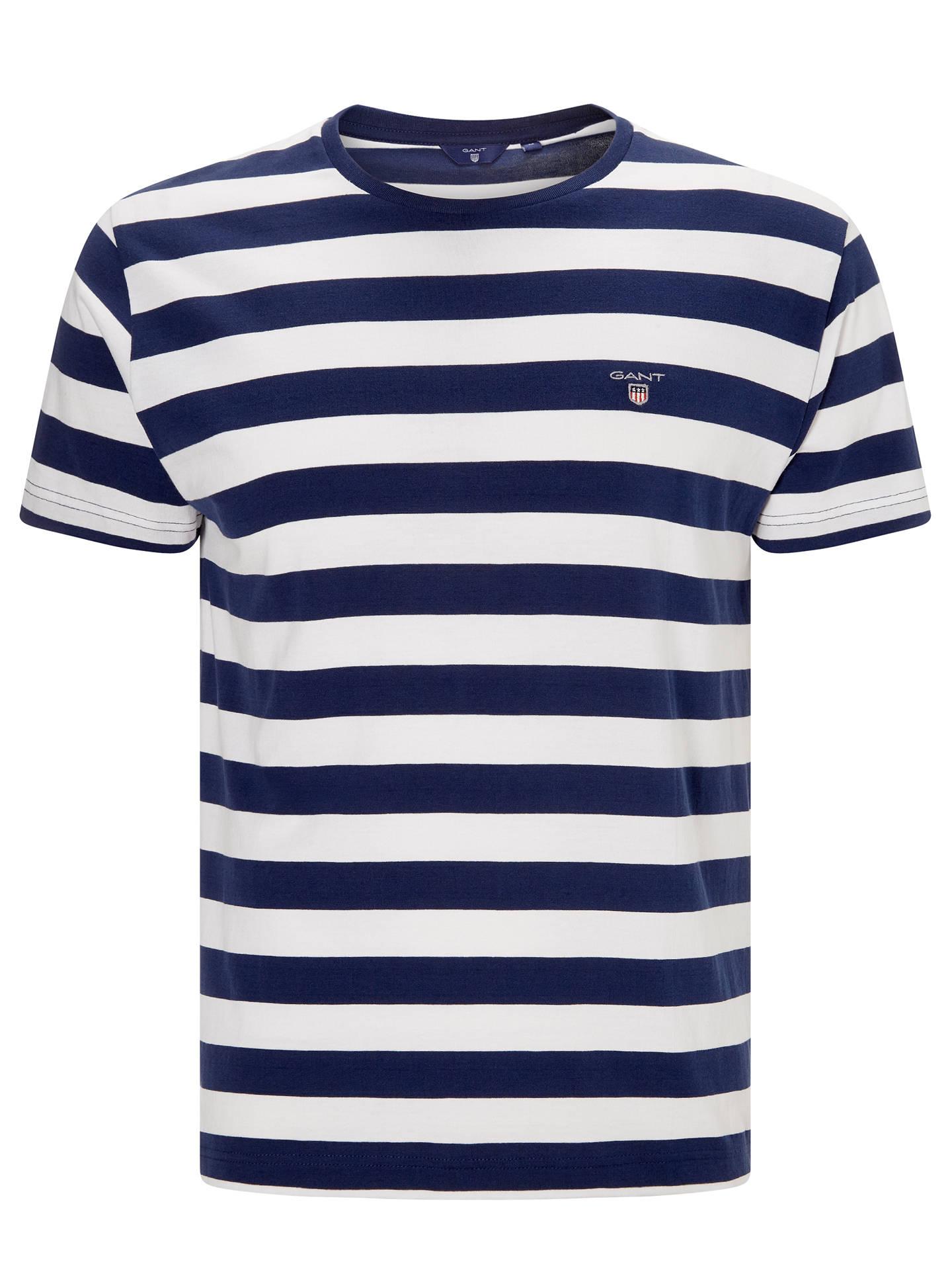 e3f8590946e Buy Gant Bar Striped Crew Neck T-Shirt, White, S Online at johnlewis ...