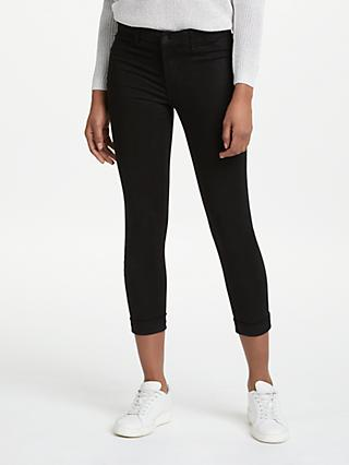 J Brand Anja Mid Rise Cropped Skinny Jeans, Black