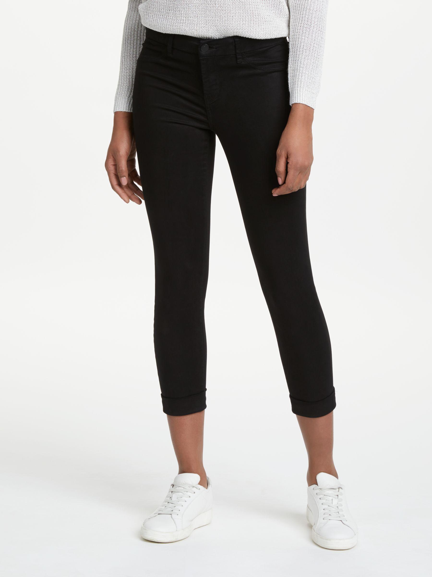 J Brand J Brand Anja Mid Rise Cropped Skinny Jeans, Black