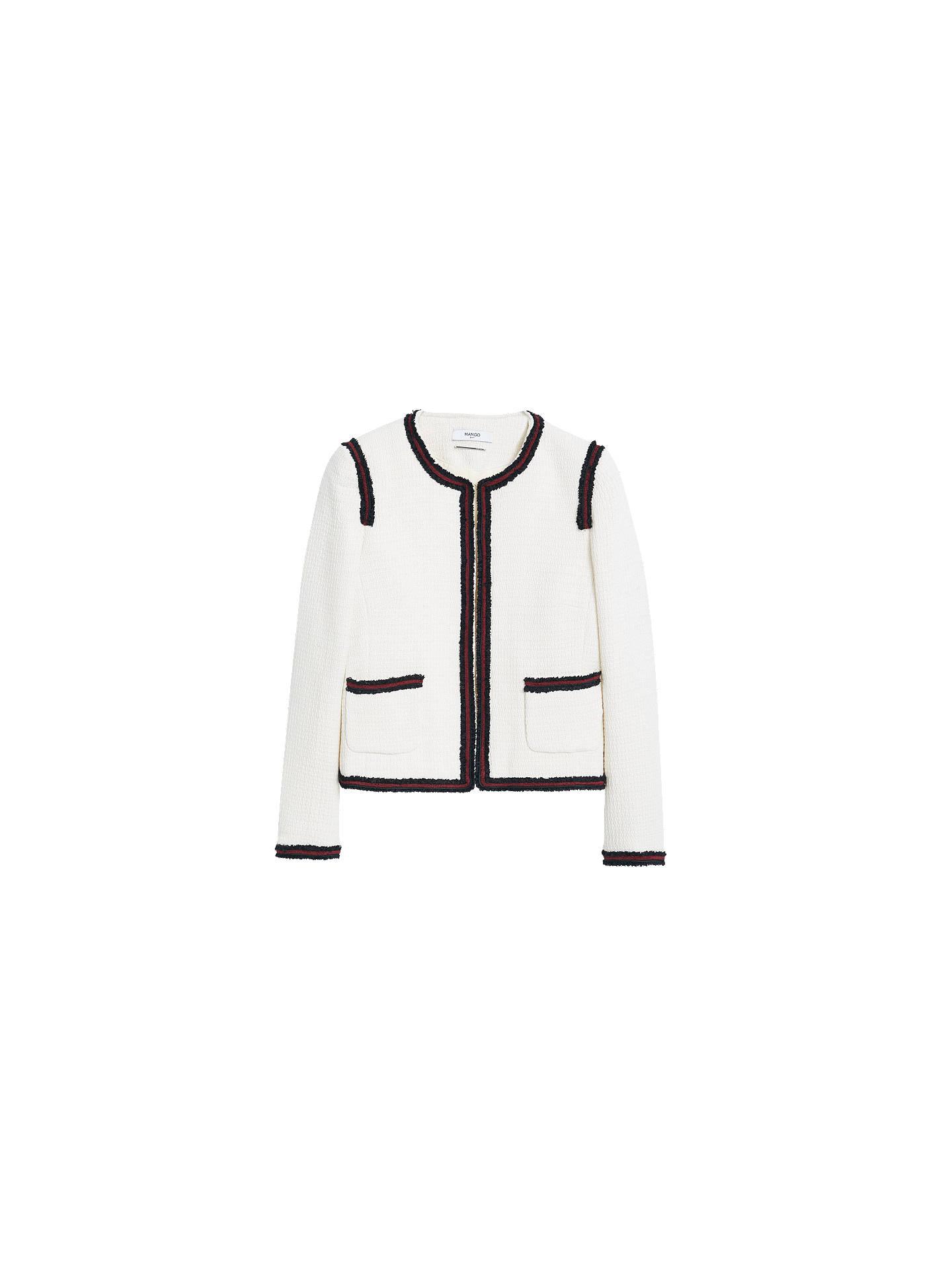 BuyMango Trim Tweed Jacket, Light Beige Multi, XS Online at johnlewis.com  ... 5a68b47d457e